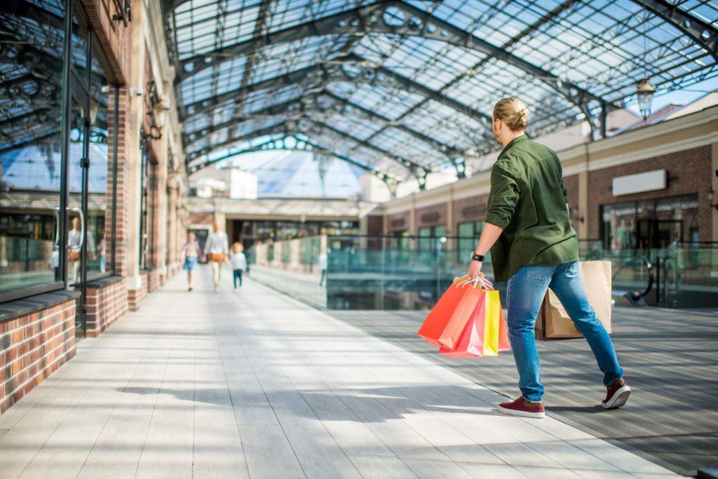 Man exploring a shopping center in Conway, South Carolina.