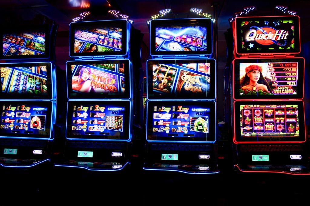 Slot machines inside of a casino in Biloxi, Mississippi.