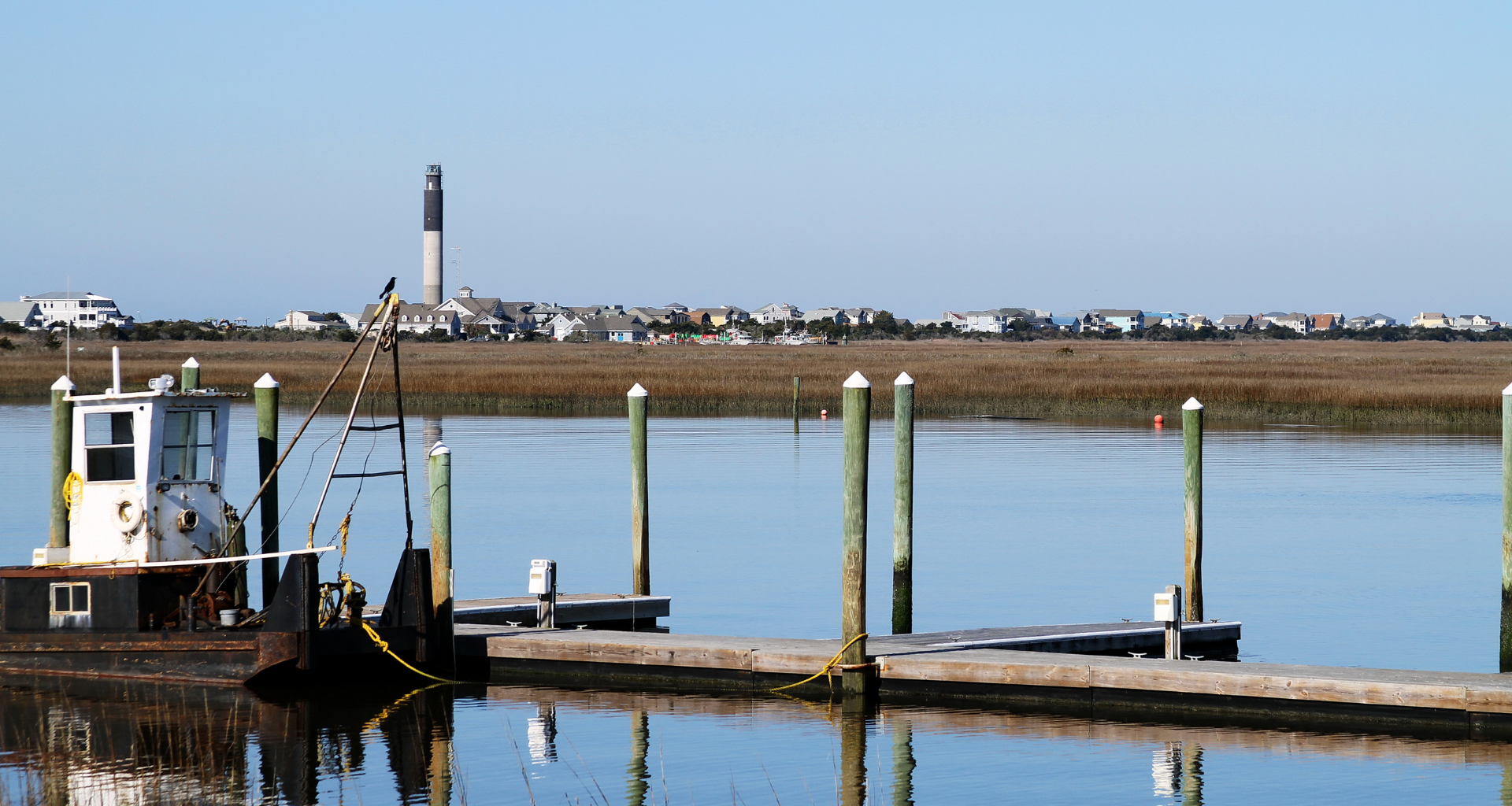 Oak Island, North Carolina docks with a view of town