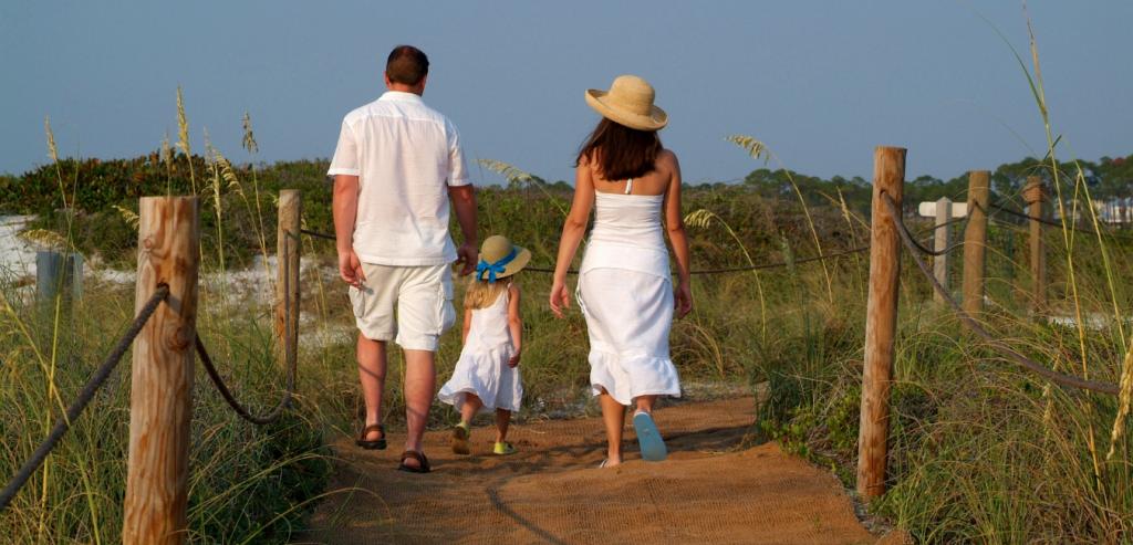 Family walking along the boardwalk trail.