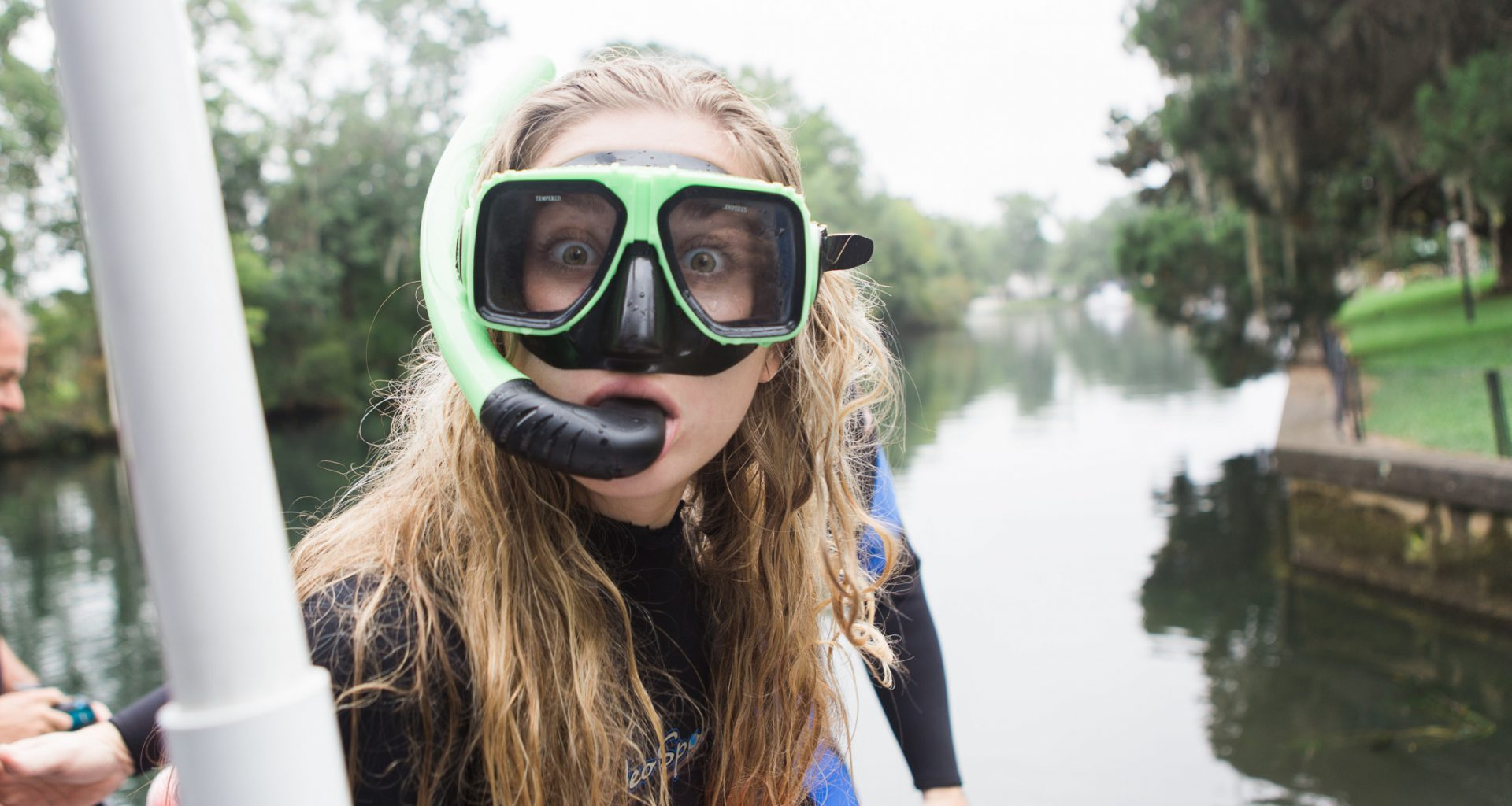 Girl ready to snorkel with manatees in Crystal River, FL