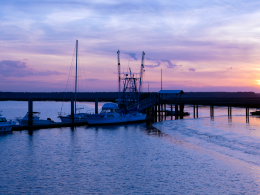 St Marys Georgia pier at sunset