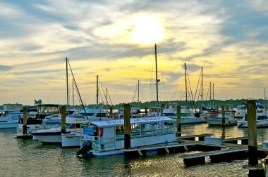 Waterfront view of the docks in Beaufort, SC